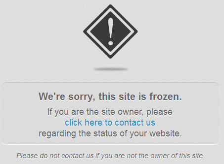 website frozen