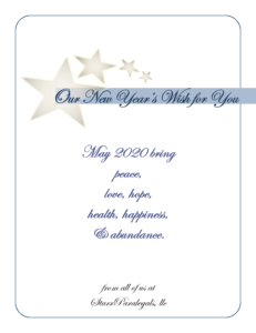 Our New year's Wish for You May 2020 bring peace, love, hope, health, happiness & abundance From all of us at StarrParalegals